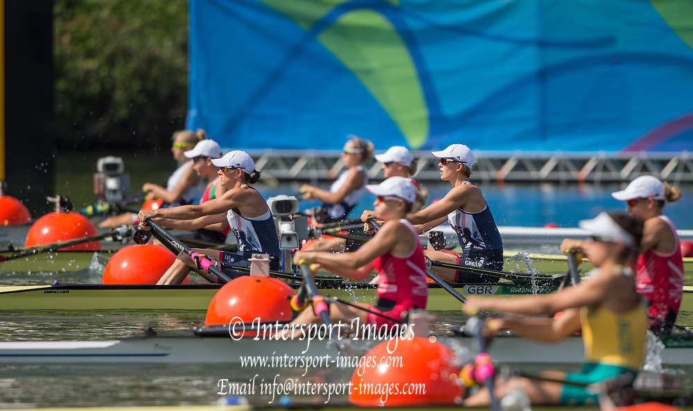 Rio de Janeiro. BRAZIL   GBR W2X. Bow. Vicky THORNILY and Katherine GRAINGER.  2016 Olympic Rowing Regatta. Lagoa Stadium,<br /> Copacabana,  &ldquo;Olympic Summer Games&rdquo;<br /> Rodrigo de Freitas Lagoon, Lagoa. Local Time 10:20:30  Tuesday  09/08/2016<br /> [Mandatory Credit; Peter SPURRIER/Intersport Images]