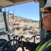 020114       Cayla Nimmo<br /> <br /> Tiffany Sanchez learns how to work the Motor Grater on the Red Rock Motor Cross Park  in Gallup Friday. She afternoon is the only female in the heavy machinery class offered through UNM. <br /> <br /> 05/02/14