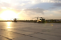 26 SEP 2004, TERMEZ/UZBEKISTAN:<br /> CH 53 Transporthubschrauber des 3. Einsatzgeschwaders der Bundeswehr im Morgenlicht auf dem Flughafen von Termez<br /> IMAGE: 20040926-01-008<br /> KEYWORDS: Termes, Usbekistan, Hubschrauber, Heeresflieger