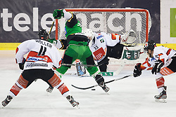23.10.2012. Hala Tivoli, Ljubljana, SLO, EBEL, HDD Telemach Olimpija Ljubljana vs HC TWK Innsbruck Die Haie, 15. Runde, in picture Kevin De Vergilio (HDD Telemach Olimpija, #51) vs Patrick Machreich (Innsbruck Die Haie, #33) during the Erste Bank Icehockey League 15th Round match between HDD Telemach Olimpija Ljubljana and HC TWK Innsbruck Die Haie at the Hala Tivoli, Ljubljana, Slovenia on 2012/10/23. (Photo By Matic Klansek Velej / Sportida)