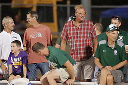{BLOOMINGTON, IL:  Jack Sikma (red plaid shirt) returns to his alma mater to watch  a college football game between the IWU Titans  and the Wheaton Thunder on September 15 2018 at Wilder Field in Tucci Stadium in Bloomington, IL. (Photo by Alan Look)