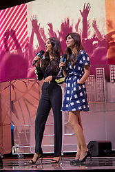 Shay Mitchell and Hannah Simone at We Day 2015, Seattle, Washington. Free the Chldren event which inspires youth activism and volunteering.