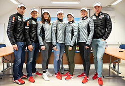 Nejc Brodar, Miha Simenc, Eva Urevc, Katja Visnar, Alenka Cebasek, Anamarija Lampic and Janez Lampic during press conference of Slovenian Nordic Ski Cross country team before new season 2019/20, on Novamber 8, 2019, in SZS, Ljubljana, Slovenia. Photo by Vid Ponikvar / Sportida