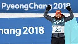 February 11, 2018 - Pyeongchang, GANGWON, SOUTH KOREA - Feb 10, 2018-Pyeongchang, South Korea-Laura DAHLMEIER of Germany win ceremony after match during an Olympic Biathlon Women Sprint 7.5Km at Biathlon Center in Pyeongchang, South Korea. (Credit Image: © Gmc via ZUMA Wire)