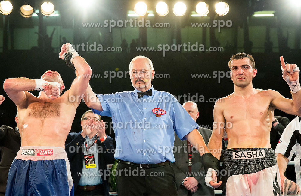 Dejan Zavec alias Jan Zaveck of Slovenia (L) celebrates after winning against WBF World Champion Sasha Yengoyan (R) of Belgium at Fight for World WBF Champion during First Class Boxing event, on April 11, 2015 in Arena Tabor, Maribor, Slovenia. Photo by Vid Ponikvar / Sportida