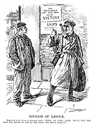 "Division of Labour. Tommy (off to the Front - to ship-yard hand). ""Well, so long, mate; we'll win the war all right if you'll see that we don't lose it!"" (a soldier points to a poster at the docks which reads The Only Thing That Can Rob Us Of VICTORY Is A Shortage Of SHIPS during WW1)"