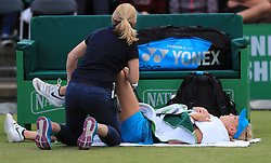 Donna Vekic receives physio during her semi final match with Johanna Konta during day six of the Nature Valley Open at Nottingham Tennis Centre.