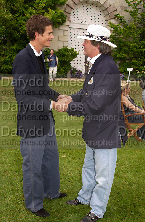 Alexander Spencer-Churchill and the Marquess of Blandford, Cartier Style Et Luxe, Goodwood, 27 June 2004. SUPPLIED FOR ONE-TIME USE ONLY-DO NOT ARCHIVE. © Copyright Photograph by Dafydd Jones 66 Stockwell Park Rd. London SW9 0DA Tel 020 7733 0108 www.dafjones.com
