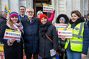 Jeremy Corbyn MP and leader of the Labour Party joins workers of Interserve, the cleaning contractors for the Foreign and Commonwealth Office FCO who are striking for better working conditions and union recognition on the 11th of February 2020 in Westminster, London, United Kingdom. (photo by Andy Aitchison / PCS)