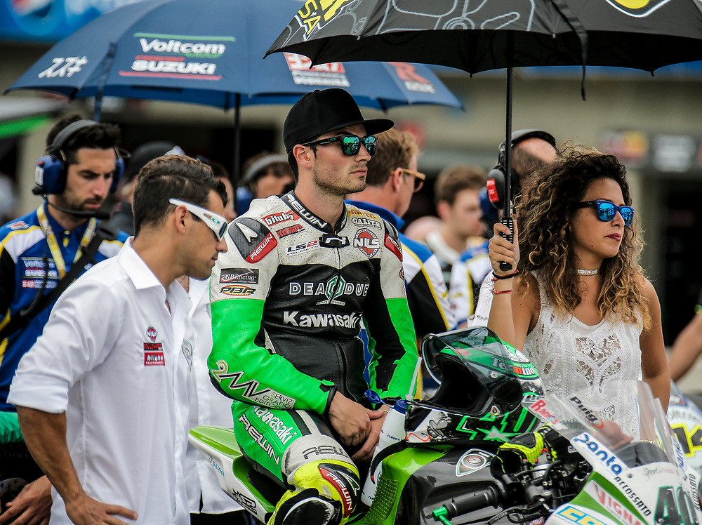 Jul 19 2015 Salinas, CA U.S.A. # 40 Roman Ramos waiting for the start of the race during the eni FIM Superbike World Championship Laguna Sega Salinas, CA  Thurman James / CSM
