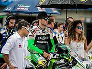 Jul 19 2015 Salinas, CA U.S.A. # 40 Roman Ramos waiting for the start of the race during the eni FIM Superbike World Championship Laguna Sega Salinas, CA  Thurman James / CSM