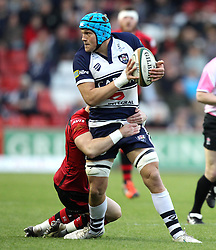 Bristol's Olly Robinson is tackled - Photo mandatory by-line: Robbie Stephenson/JMP - Mobile: 07966 386802 - 17/04/2015 - SPORT - Rugby - Bristol - Ashton Gate - Bristol Rugby v Jersey - Greene King IPA Championship