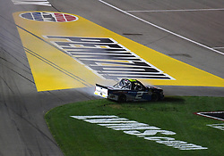 March 1, 2019 - Las Vegas, NV, U.S. - LAS VEGAS, NV - MARCH 01: Sheldon Creed (2) Gallagher Motor Sports (GMS) Chevrolet Silverado plows the infield grass after spinning at exit of turn 4 during the NASCAR Gander Outdoors Truck Series Strat 200 on March 01, 2019, at Las Vegas Motor Speedway in Las Vegas, NV. (Photo by Chris Williams/Icon Sportswire) (Credit Image: © Chris Williams/Icon SMI via ZUMA Press)