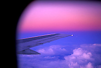 Looking east at sunset out the window of an airplane while flying back to the US from Puerto Vallarta, Mexico.<br />