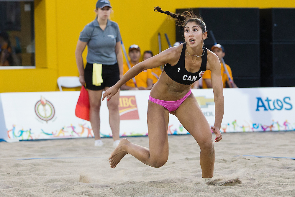 The Canadian Women Beach Volleyball team of Taylor Pischke and Melissa Humana-Paredes beat the Cayman Islands duo of Chante Smith-Johnson and Ileann Powery in straight sets (21-8 - 21-10) at the 2015 Pan American Games in Toronto, Ontario on July 13, 2015.