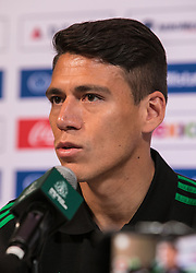 May 25, 2018 - Los Angeles, California, U.S - Hector Moreno of Mexico's World Cup squad responds to questions from journalists during Mexico Media Day on Friday May 25, 2018 in Beverly Hills, California ahead a pre-World Cup soccer friendly against Wales in Pasadena on May 28. (Credit Image: © Prensa Internacional via ZUMA Wire)