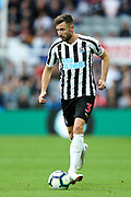 Paul Dummett (#3) of Newcastle United makes a short pass during the Premier League match between Newcastle United and Arsenal at St. James's Park, Newcastle, England on 15 September 2018.