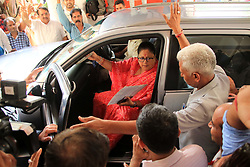May 23, 2019 - Jaipur, Rajasthan, India - Former Rajasthan Chief Minister Vasundhara Raje arrives at party office  during the India's Lok Sabha Election 2019 result day, in Jaipur ,Rajasthan,India. May 23,2019. (Credit Image: © Vishal Bhatnagar/NurPhoto via ZUMA Press)
