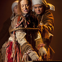 Picture shows : Cath Whitefield as Tottie and Charlene Boyd as Jenny.<br /> Bondagers <br /> By Sue Glover<br /> Directed by Lu Kemp<br /> &quot;Redd up the stables, muck out the byre, plant the tatties, howk the tatties, clamp the tatties... Shear, stook, striddle, stack. Women's work.&quot;<br /> A true classic of modern Scottish Theatre, and a haunting evocation of a lost way of life, Sue Glover&rsquo;s lyrical play with music and song follows six women land workers as they graft and dance their way through a year on a 19th Century Borders farm.<br /> Every ploughman had to provide a woman (a bondager) to work on the farm. If his wife was too busy with family, he hired a woman to work the fields and lodge in his home. Following these women&nbsp;through the passing of the seasons, we feel the rhythm of the land and the harshness, humour, hope and tragedy of those who worked upon it.&nbsp;<br /> Picture : Drew Farrell<br /> Tel : 07721 -735041<br /> www.drewfarrell.com<br /> <br /> <br /> For Further information please contact Michelle Mangan Press and PR Manager, Royal Lyceum Theatre Edinburgh <br /> Main Line: 0131 248 4800| Direct Line: 0131 248 4822<br /> <br /> Image is free to use in connection of the promotion of 'Bondagers' and  The Lyceum Theatre Permissions for ALL other uses needs to be sought and payment make be required.<br /> <br /> Opens at The Royal Lyceum Theatre, Edinburgh<br /> 22 October to 15 November 2014<br /> CAST <br /> Cath Whitefield - Tottie <br /> Pauline Lockhart - Maggie <br /> Wendy Seager - Sara <br /> Jayd Johnson - Liza <br /> Charlene Boyd - Jenny <br /> Nora Wardell - Ellen <br /> CREATIVE TEAM <br /> Director   Lu Kemp <br /> Designer Jamie Vartan <br /> LX Designer   Simon Wilkinson <br /> Composer/Sound Designer - Michael John McCarthy<br /> Voice - Ros Steen<br /> Lu Kemp has recently has directed Don Quixote at &Ograve;ran M&oacute;r, and Arabian Nights at the Tricycle Theatre. We are delighted to welcome her to The Lyceum 