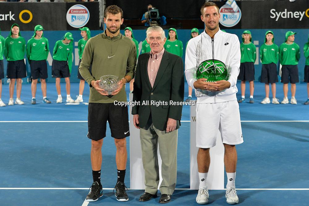 16.01.16 Sydney, Australia.Grigor Dimitrov (BUL),Ken Rosewall (AUS) and Viktor Troicki (SRB) after the mens singles final match at the Apia International Sydney. Troicki won the final 2-6,6-1,7-6.