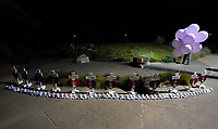 Crosses for those killed in the Aurora theater shooting are seen at a vigil on the 5-year anniversary of the tragedy in Aurora, Colorado United States July 20, 2017.  REUTERS/Rick Wilking