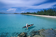 Canoeing on lagoon at , Fernandez Bay Village, Cat Island, Bahamas