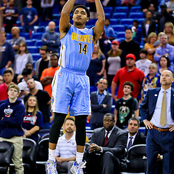 Mar 31, 2016; New Orleans, LA, USA; Denver Nuggets guard Gary Harris (14) shoots against the New Orleans Pelicans during the first quarter of a game at the Smoothie King Center. Mandatory Credit: Derick E. Hingle-USA TODAY Sports