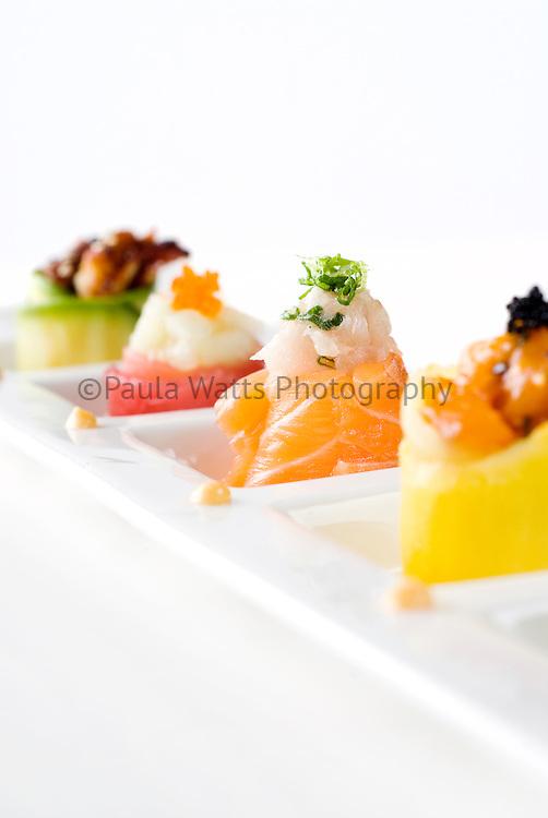 Fresh Japanese sushi in simplistic arrangement and design