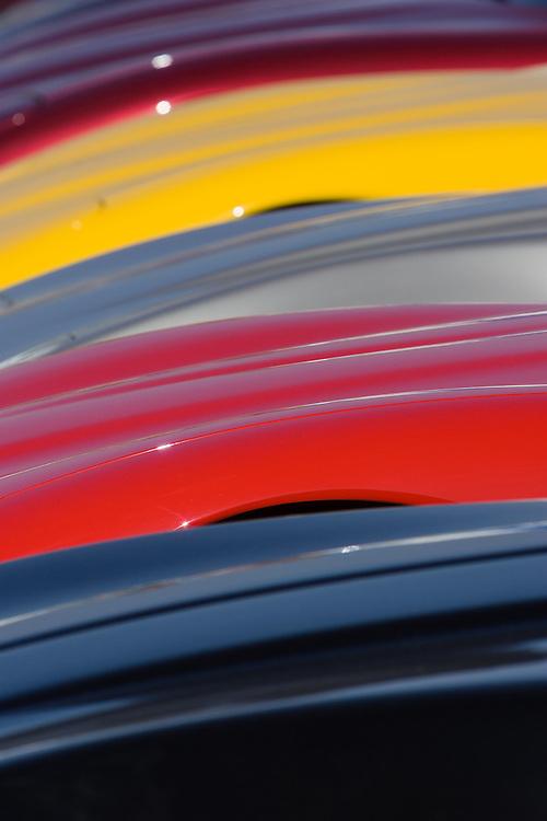 Chevrolet Corvettes lined up at the Mazda Laguna Seca Racetrack