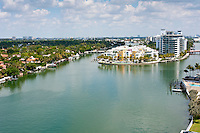 View of Indian Creek Canal and Intracoastal in Miami Beach.