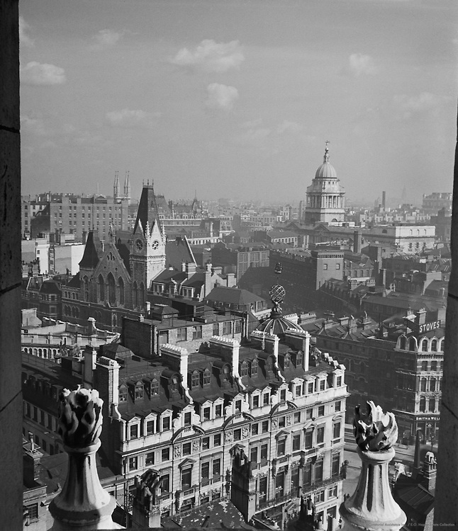 Ludgate House, Memorial Hall, Old Bailey Courthouse, from St. Bride's Steeple, London, 1936