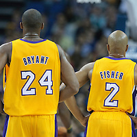 04 October 2010: Los Angeles Lakers guard Derek Fisher #2 is seen next to Los Angeles Lakers guard Kobe Bryant #24 during the Minnesota Timberwolves 111-92 victory over the Los Angeles Lakers, during 2010 NBA Europe Live, at the O2 Arena in London, England.