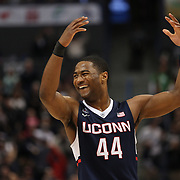 Rodney Purvis, UConn, celebrates after shooting a three pointer during the UConn Huskies Vs Tulsa Semi Final game at the American Athletic Conference Men's College Basketball Championships 2015 at the XL Center, Hartford, Connecticut, USA. 14th March 2015. Photo Tim Clayton