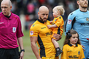 Newport County captain for the day, David Pipe, the EFL Sky Bet League 2 match between Newport County and Yeovil Town at Rodney Parade, Newport, Wales on 14 April 2017. Photo by Andrew Lewis.