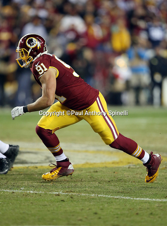 Washington Redskins outside linebacker Ryan Kerrigan (91) chases the action during the 2015 week 13 regular season NFL football game against the Dallas Cowboys on Monday, Dec. 7, 2015 in Landover, Md. The Cowboys won the game 19-16. (©Paul Anthony Spinelli)