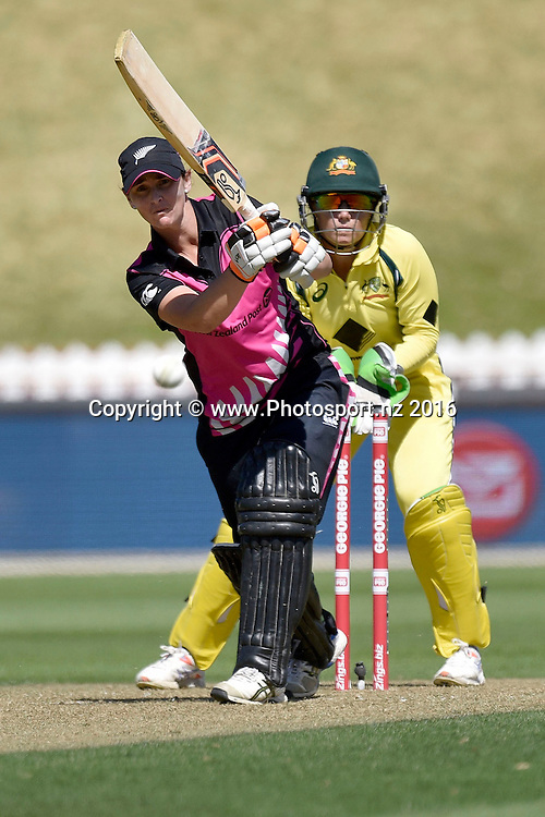 Katey Martin of New Zealand plays a shot during the Women's T20 International - New Zealand v Australia cricket match at the Basin Reserve in Wellington on Sunday the 28th of February 2016. Copyright Photo by Marty Melville / www.Photosport.nz