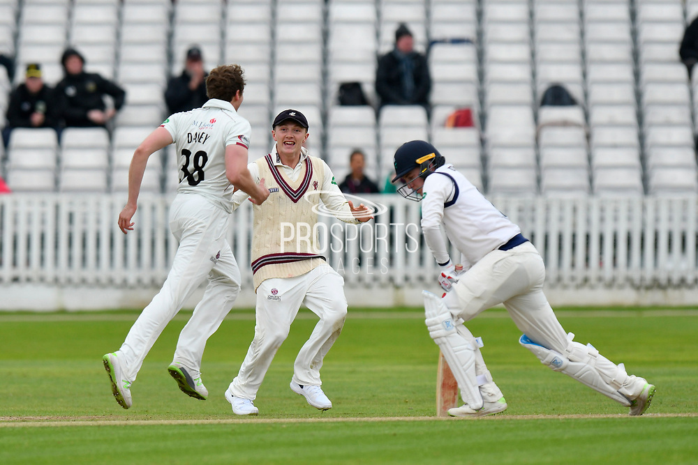 Wicket - Josh Davey of Somerset celebrates taking the wicket of Harry Brook of Yorkshire during the third day of the Specsavers County Champ Div 1 match between Somerset County Cricket Club and Yorkshire County Cricket Club at the Cooper Associates County Ground, Taunton, United Kingdom on 29 April 2018. Picture by Graham Hunt.
