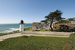 Montara Lighthouse, now a Youth Hostel, .San Mateo Coast of California, south of San Francisco.  Photo copyright Lee Foster, 510-549-2202, lee@fostertravel.com, www.fostertravel.com.  Photo 418-30826