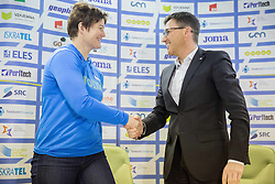 Martina Ratej and Roman Dobnikar, new president of AZS during press conference when Slovenian athletes and their coaches sign contracts with Athletic federation of Slovenia for year 2016, on February 25, 2016 in AZS, Ljubljana, Slovenia. Photo by Vid Ponikvar / Sportida