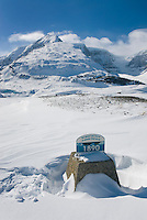 Marker depicting retreat of the Athabasca Glacier near Sunwapta Pass, jasper National Park Alberta Canada