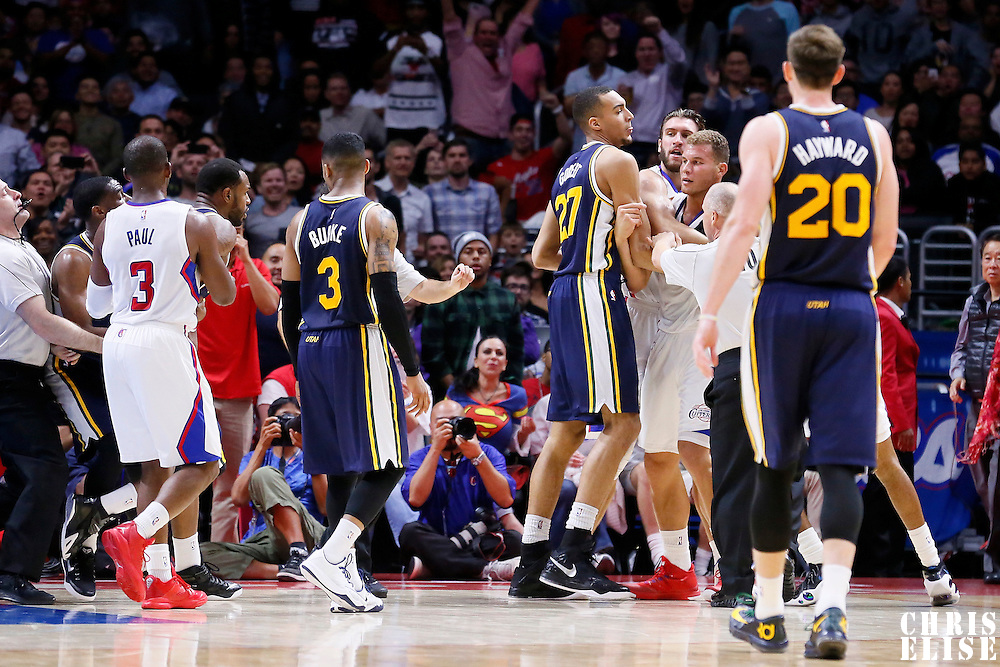 17 October 2014: Los Angeles Clippers forward Blake Griffin (32) and Utah Jazz forward Trevor Booker (33) scuffle after flagrant foul during the Los Angeles Clippers 101-97 victory over the Utah Jazz, in a preseason game, at the Staples Center, Los Angeles, California, USA.