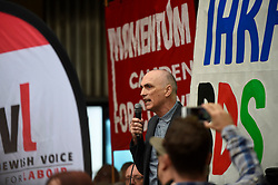 © Licensed to London News Pictures. 04/09/2018. LONDON, UK.  Chris Williamson,  MP Derby North, gives a speech as demonstrators from the Jewish Voice for Labour gather outside Labour HQ in central London as members of Labour National Executive Committee discuss the party's code of conduct on anti-semitism.  Photo credit: Stephen Chung/LNP