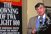 Journalist Pierre Salinger holds a press conference on the conspiracy behind the crash of TWA Flight 800 in Washington, DC.
