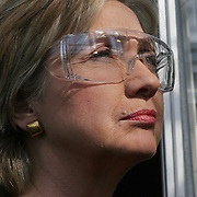 Presidential candidate Hillary Clinton looked through safety glasses as she toured the Pioneer Hybrid Seed factory in Des Moines, Iowa in  March of 2007.   Clinton remains, along with Senator Barrack Obama, one of two Democratic candidates still vying for the party's nomination.