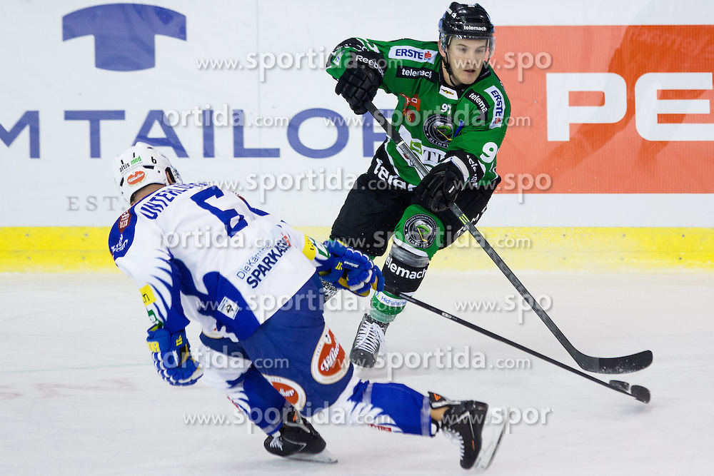 26.09.2014, Hala Tivoli, Ljubljana, SLO, EBEL, HDD Telemach Olimpija Ljubljana vs EC VSV, 5. Runde, in picture Matt White (HDD Telemach Olimpija, #97) vs Gerhard Unterluggauer (EC VSV, #6) during the Erste Bank Icehockey League 5. Round between HDD Telemach Olimpija Ljubljana and EC VSV at the Hala Tivoli, Ljubljana, Slovenia on 2014/09/26. Photo by Matic Klansek Velej / Sportida