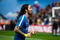LONDON, ENGLAND - APRIL 14: Ezequiel Schelotto (21) of Brighton and Hove Albion during the Premier League match between Crystal Palace and Brighton and Hove Albion at Selhurst Park on April 14, 2018 in London, England. (Photo by MB Media/Getty Images)