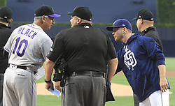 May 2, 2017 - San Diego, CA, USA - Colordo Rockies manager Bud Black, left, and San Diego Padres manager Andy Green shake hands at home plate just before the start of action at Petco Park in San Diego on Tuesday, May 2, 2017. (Credit Image: © Hayne Palmour Iv/TNS via ZUMA Wire)