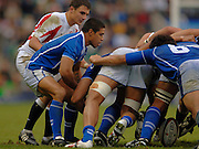 2005 Rugby, Investec Challenge, England vs Manu Samoa,  Steve SO'OIALO puts the ball in to the scrum,  beat Samoa 40 points to 3 at the  RFU stadium, Twickenham, ENGLAND:     26.11.2005   © Peter Spurrier/Intersport Images - email images@intersport-images..