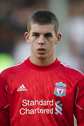 LONDON, ENGLAND - Monday, May 9, 2011: Liverpool's John Flanagan before during the Premiership match against Fulham at Craven Cottage. (Photo by David Rawcliffe/Propaganda)
