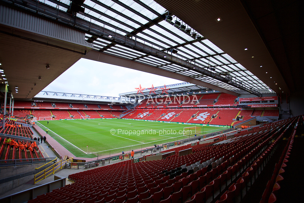 LIVERPOOL, ENGLAND - Saturday, January 31, 2015: A general view of Liverpool's Anfield Stadium ahead of the Liverpool versus West Ham United Premier League match. (Pic by David Rawcliffe/Propaganda)